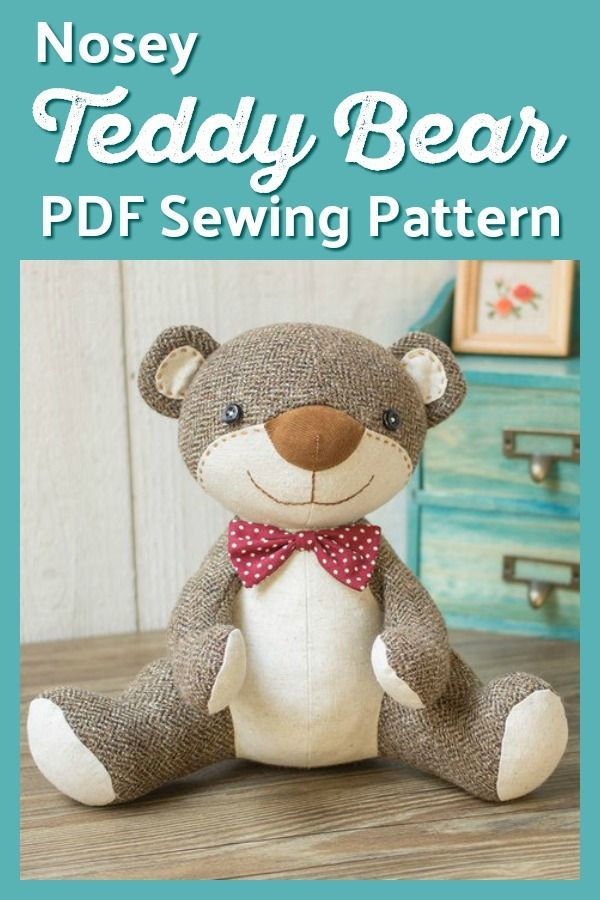 Nosey Teddy Bear sewing pattern by XanthePatterns | Sewing ...