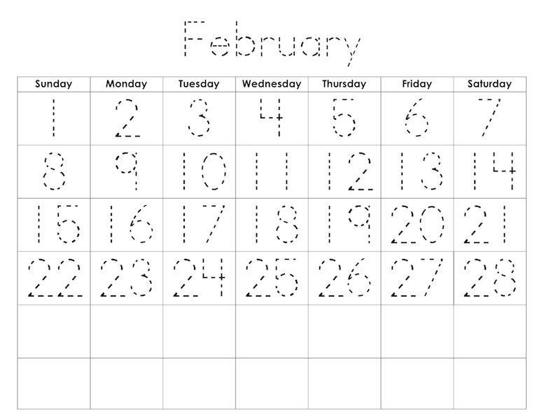 Kids Traceable Monthly Calendar | Begin School | Pinterest ...