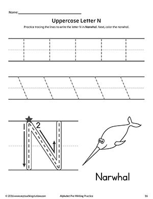 uppercase letter n pre writing practice worksheet alphabet worksheets writing practice. Black Bedroom Furniture Sets. Home Design Ideas