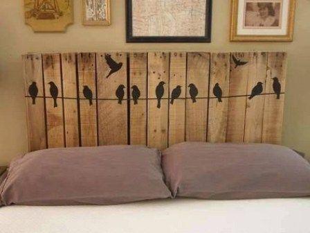 Respaldo de cama de palets con pájaros | hoMe | Pinterest | Cama de ...