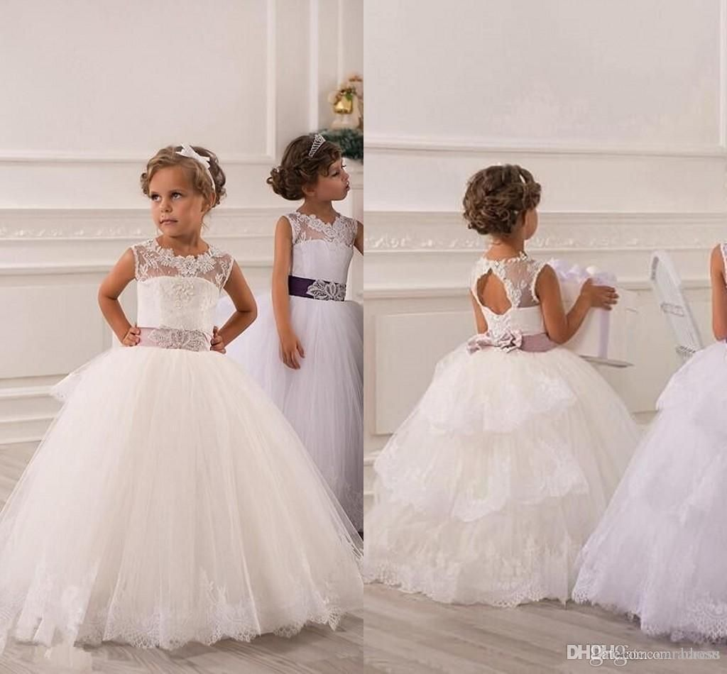 Cheap Ball Gown Flower Girl Dresses Jewel Lace Baby Girl Birthday ...