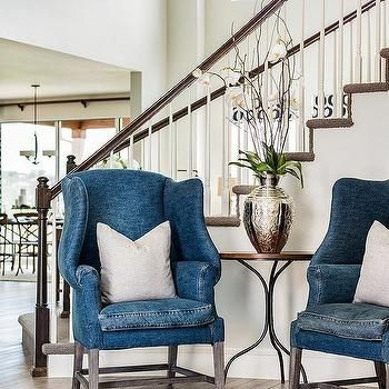 Best Blue Denim Wingback Chairs With Images Black Cafe 400 x 300