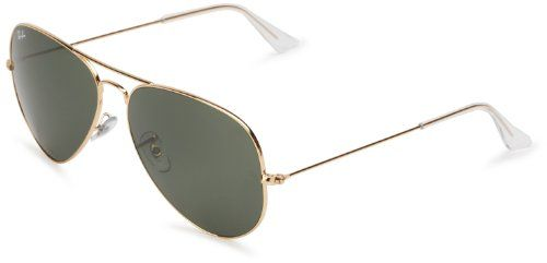 Ray-Ban RB3025 Aviator Large Metal Sunglasses,Non-Polarized, Gold Frame/Crystal Green G-15XLT Lens,62 mm   Your #1 Source for Sporting Goods...