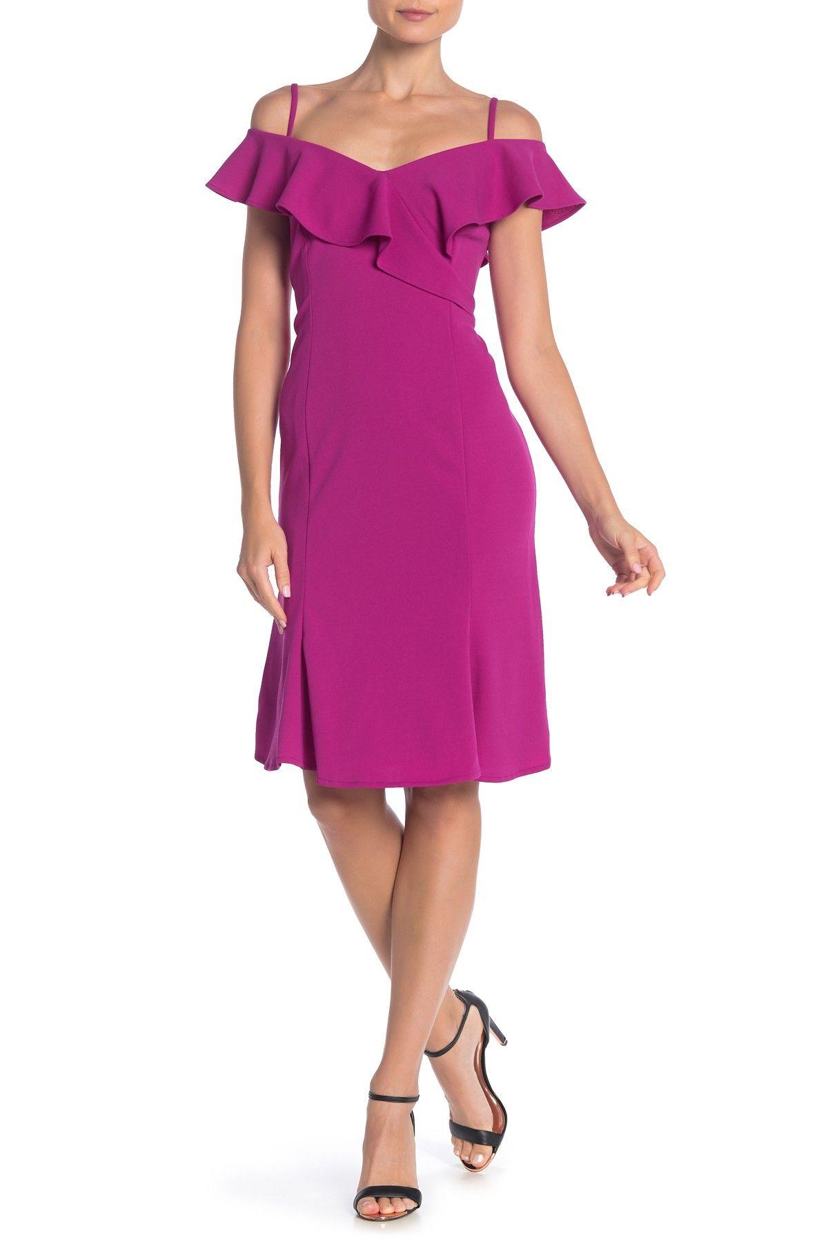 Marina Cold Shoulder Ruffle Trim Crepe Dress Nordstrom Rack Dresses Crepe Dress Stylish Dresses [ 1800 x 1200 Pixel ]