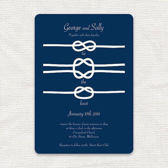Molto Nautical wedding invitation printable invite tie the knot | Etsy AF06