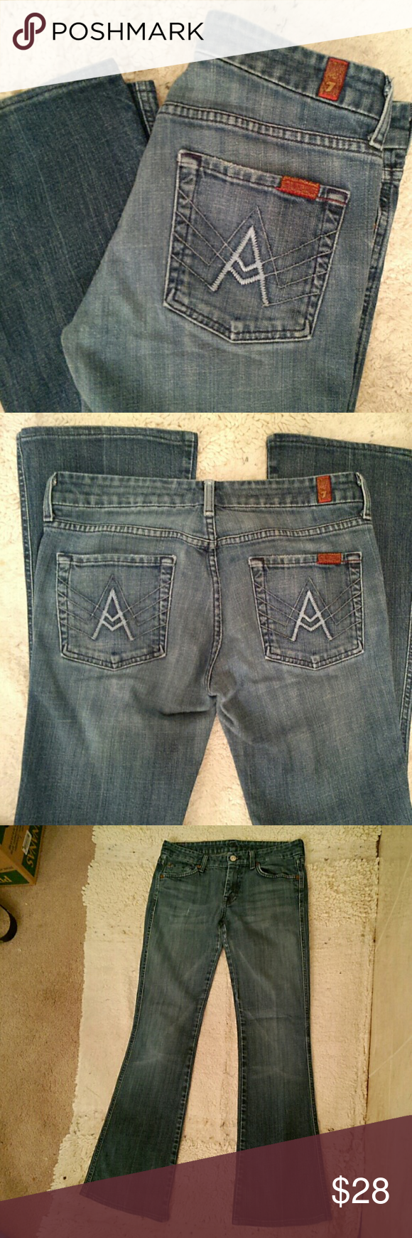 """7FAM """"A"""" pocket jeans medium blue; A pocket style; size 28; inseam 30.5""""; some wear from the legs rubbing - see pic 4    (T-16) 7 for all Mankind Jeans Boot Cut"""