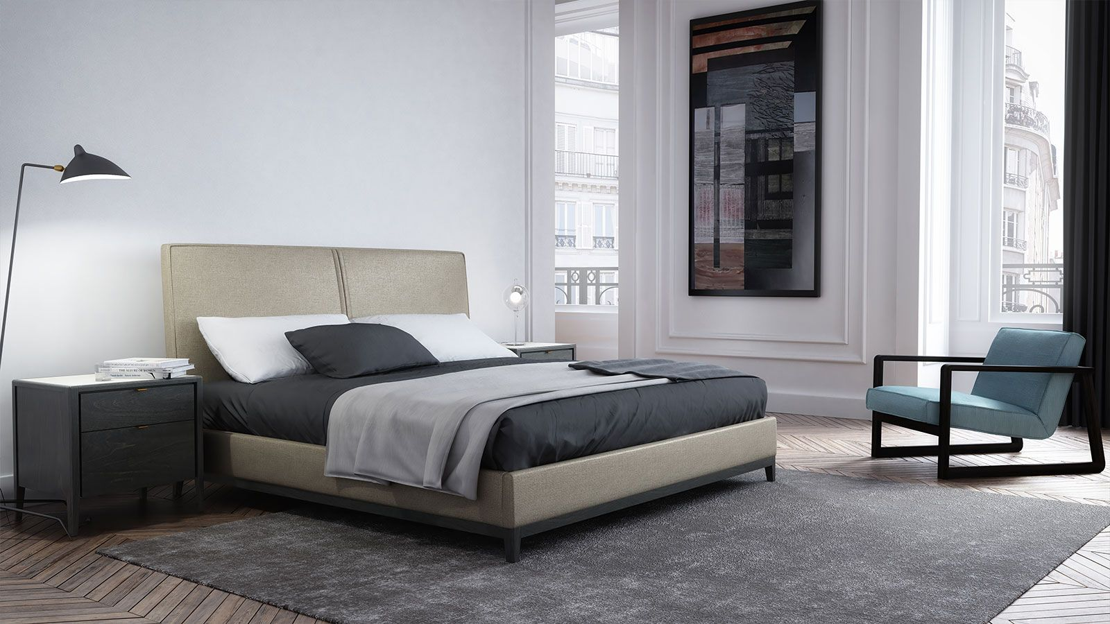 Manufacturier De Meubles Contemporain Huppe Top Quality Bedroom Furniture Modern Upholstered Beds Furniture