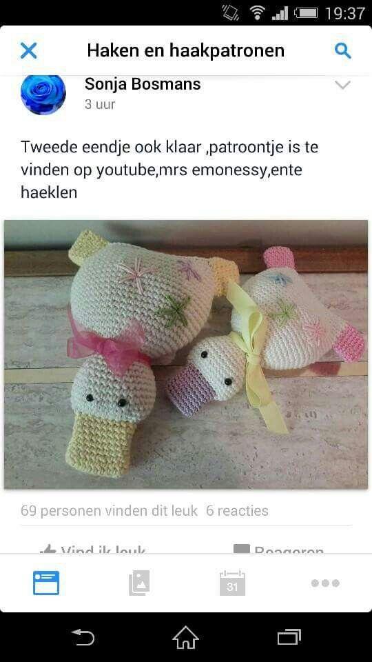 Platte Eend Haken Eendjes Crochet Ducks