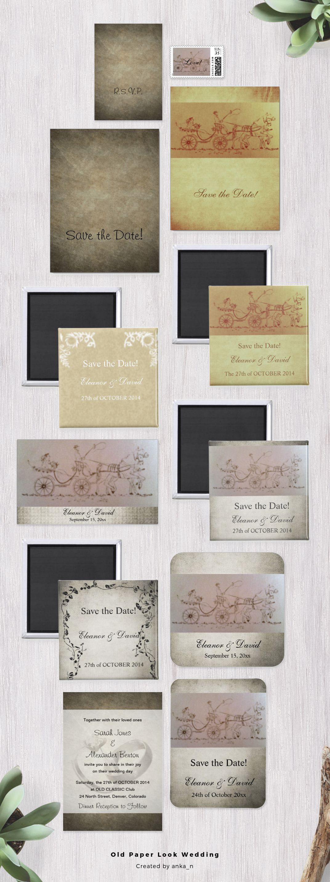 simple vintage wedding invitations and matching stationery