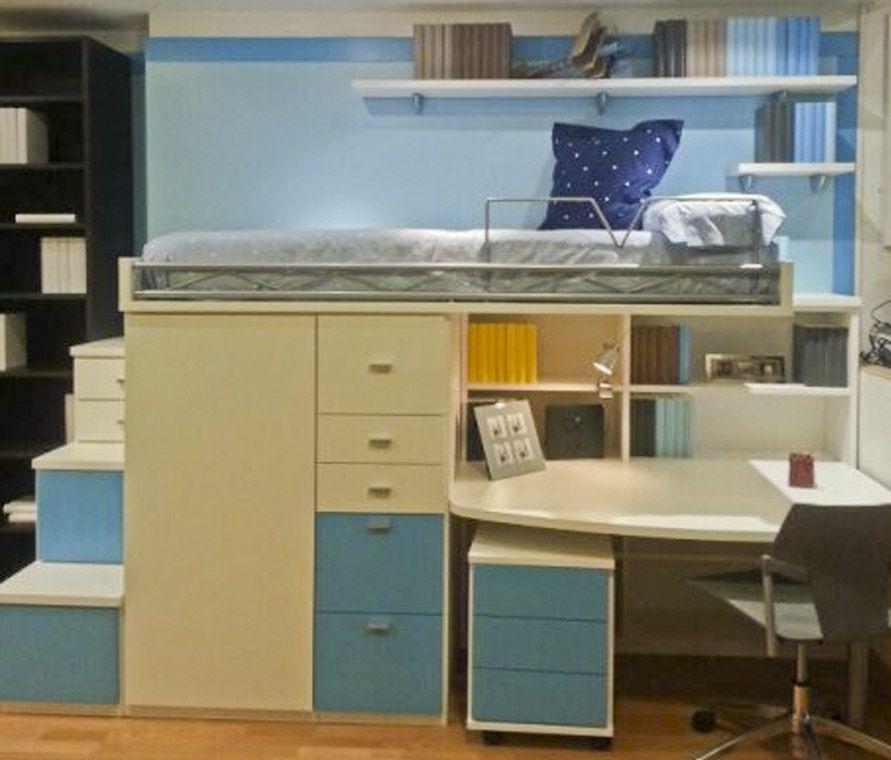 R246 juvenil compacto de cama alta con biblioteca mesa for Dormitorio estudio