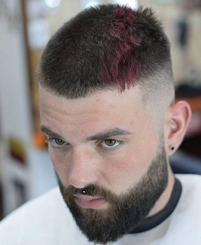 Buzz Burgund Streifen Männer Kurze Frisuren Kurze Männer Frisuren