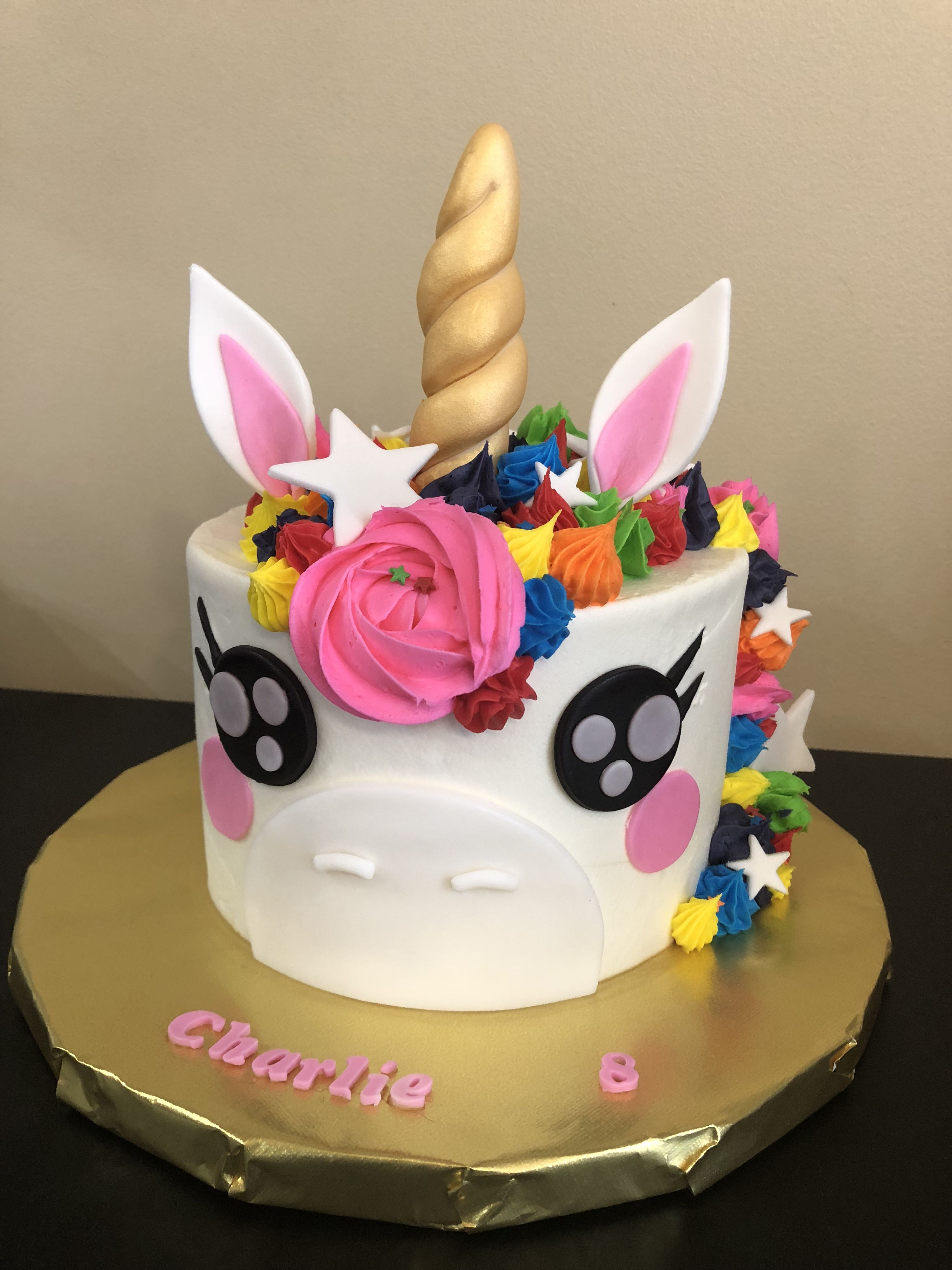 Unicorn Cake Birthday Rainbow Colors With Images Unicorn