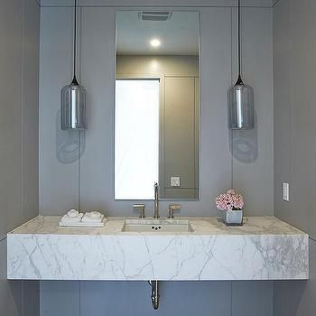 Charmant Floating Marble Sink Vanity With Gray Glass Pendants
