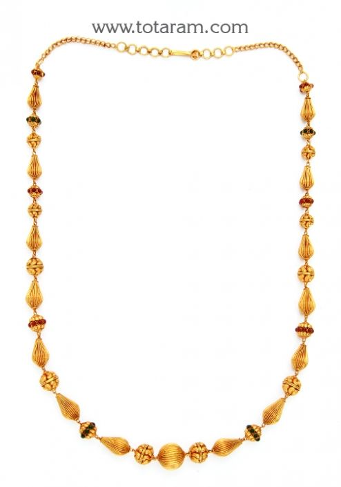 22K Gold Long Necklace (Temple Jewellery): Totaram Jewelers