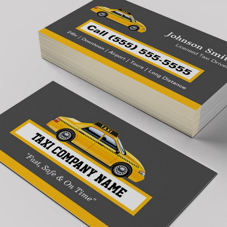 Licensed Cap Driver Chauffeur Yellow Taxi Business Card Templates You Can Customize This Card With Your Own Text Logo Phot Yellow Taxi Taxi Business Cards