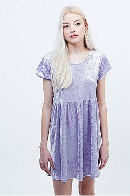 Urban Renewal Vintage Remnants Velvet Babydoll Dress in Lilac