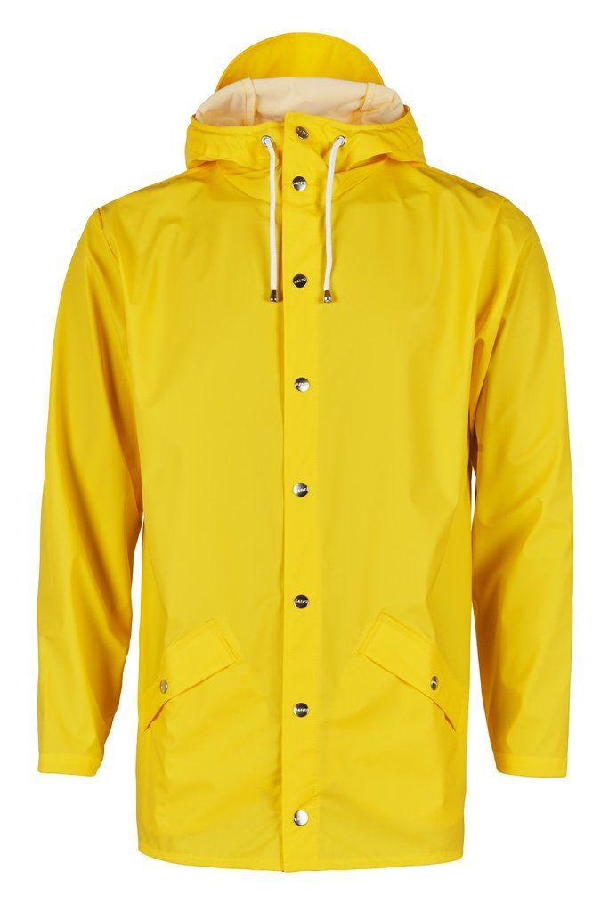 RAINS Jacket in Yellow. Modern, stylish raincoat from Danish brand ...