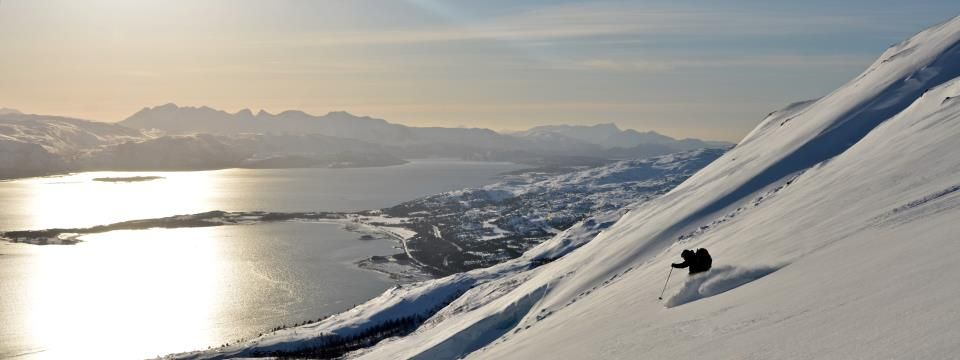 Skiing above Bodø, Norway
