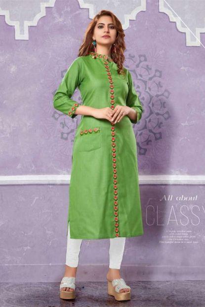 7c9265d1ef Wholesale Party Wear Kurtis | Bunch Of 6 Indian Casual Wear Plain Cotton  Slub Long Length Kurti Collection