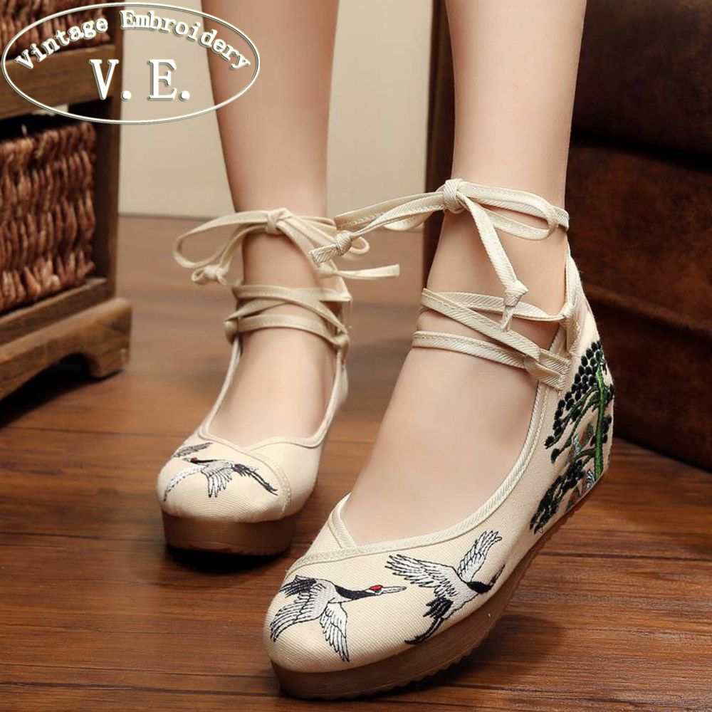 Vintage Embroidery Women Pumps Casual Canvas Crane 5cm Heel Wedges Lace Up Shoes Ladies Floral Zapatos Mujer Size 34-41