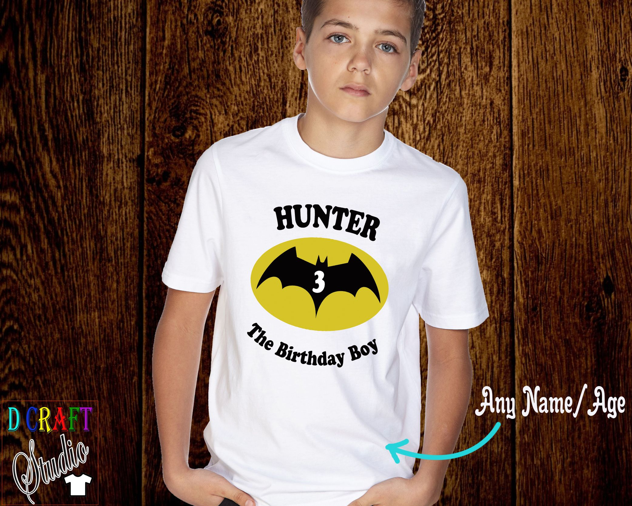 Batman T Shirt with Child/'s Name