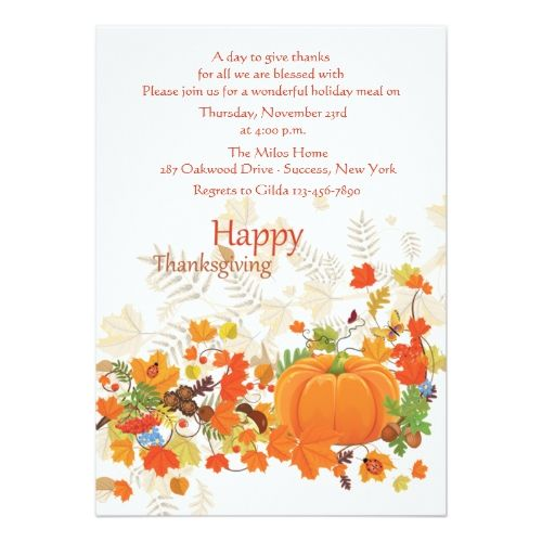 Festive Thanks Thanksgiving Invitation  Party Invitations