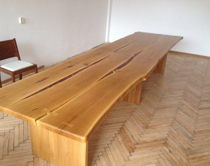 Massive Oak Handmade Live Adge Wood Dinning Table Rustic Oak