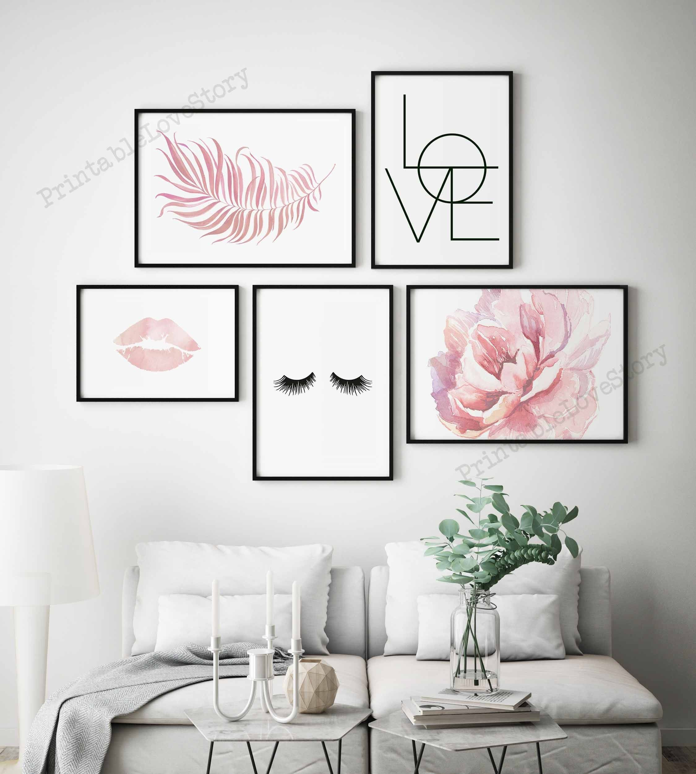 Gallery Wall Artmakeup Wall Artblush Pink Printslashes Etsy Wall Decor Bedroom Paris Decor Bedroom Pink Wall Decor