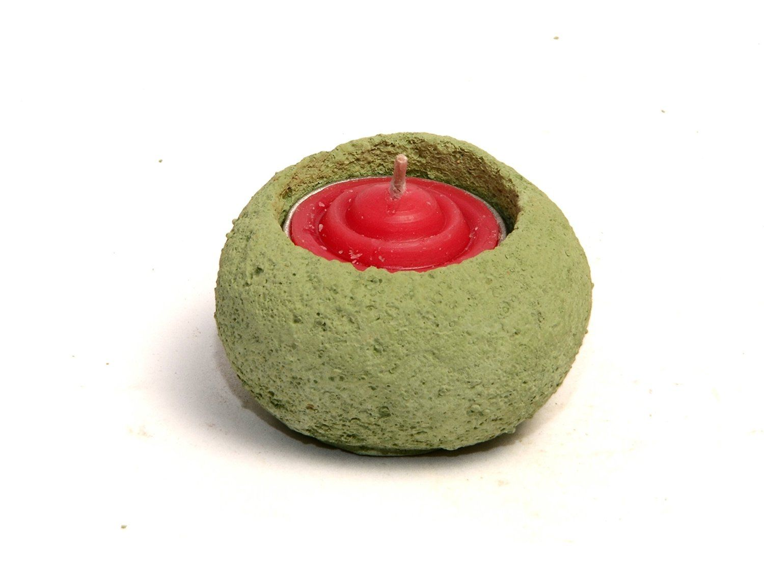 Buy Candle Holder Made of Concrete (Green, Diwali Gift
