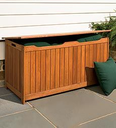Solid Eucalyptus Outdoor Storage Box $300  Want to get this for the front porch.