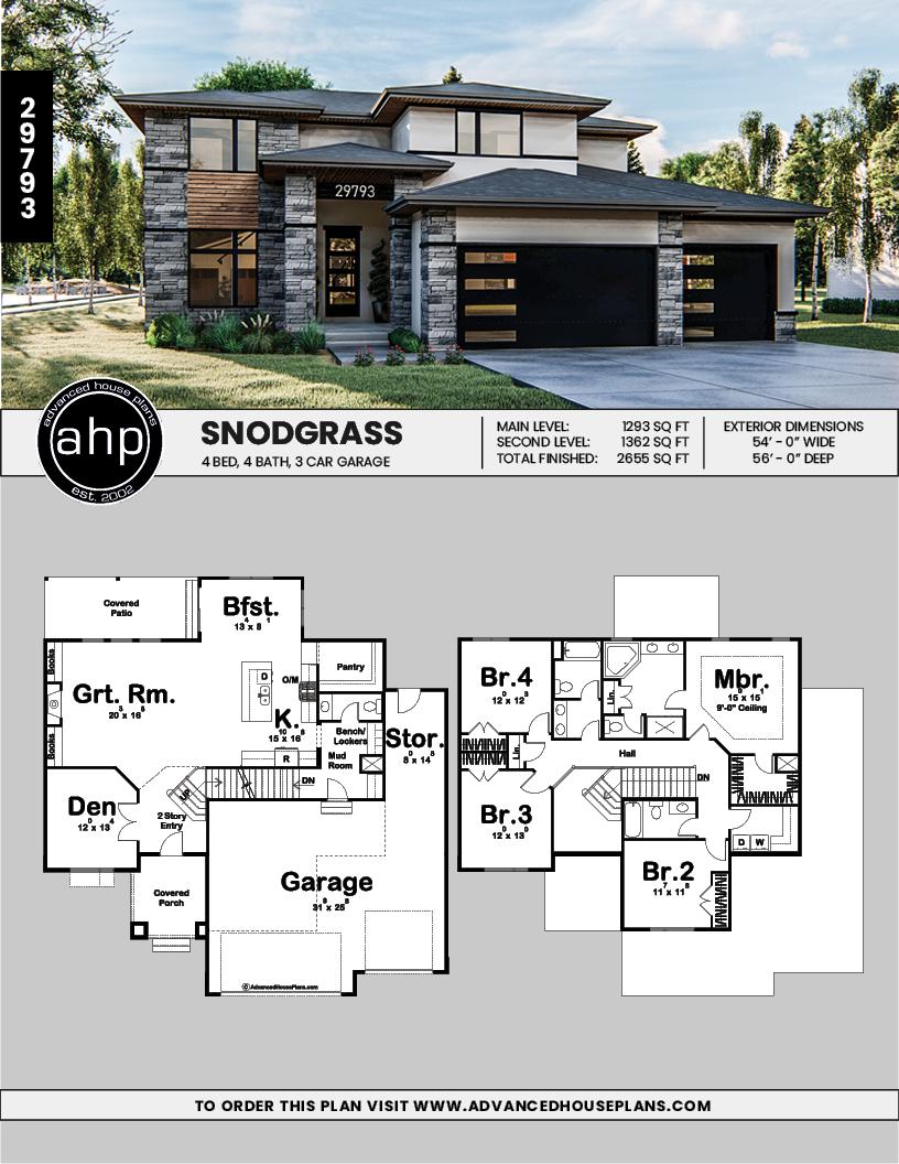 2 Story Modern Prairie Style House Plan Snodgrass Prairie Style Houses Family House Plans Modern House Floor Plans