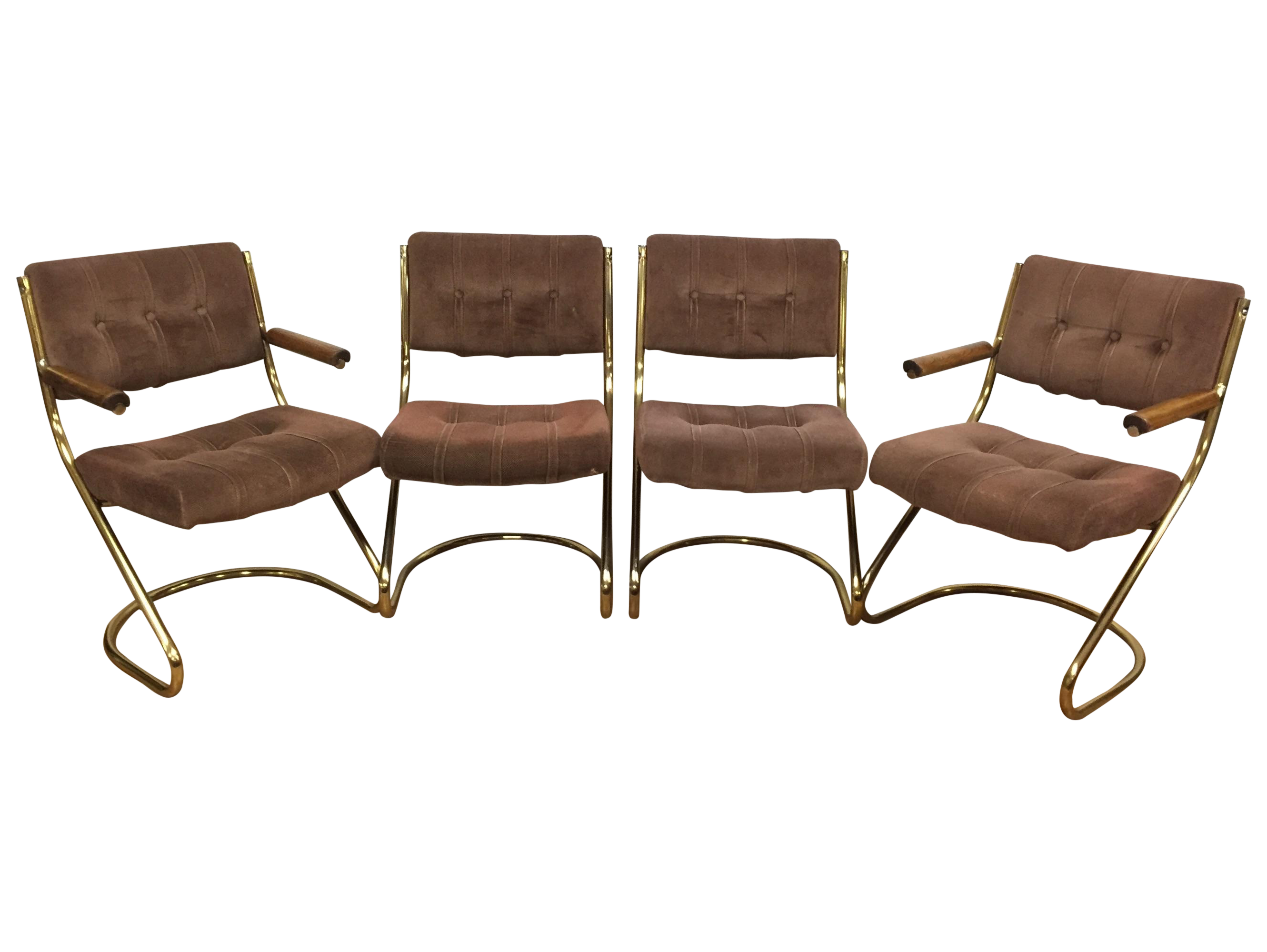 A mid century modern set of four brass cantilever dining chairs ...