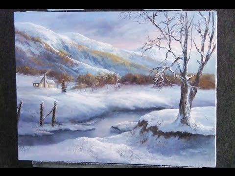 Snowy Winter Landscape With Watercolor Painting Tutorial