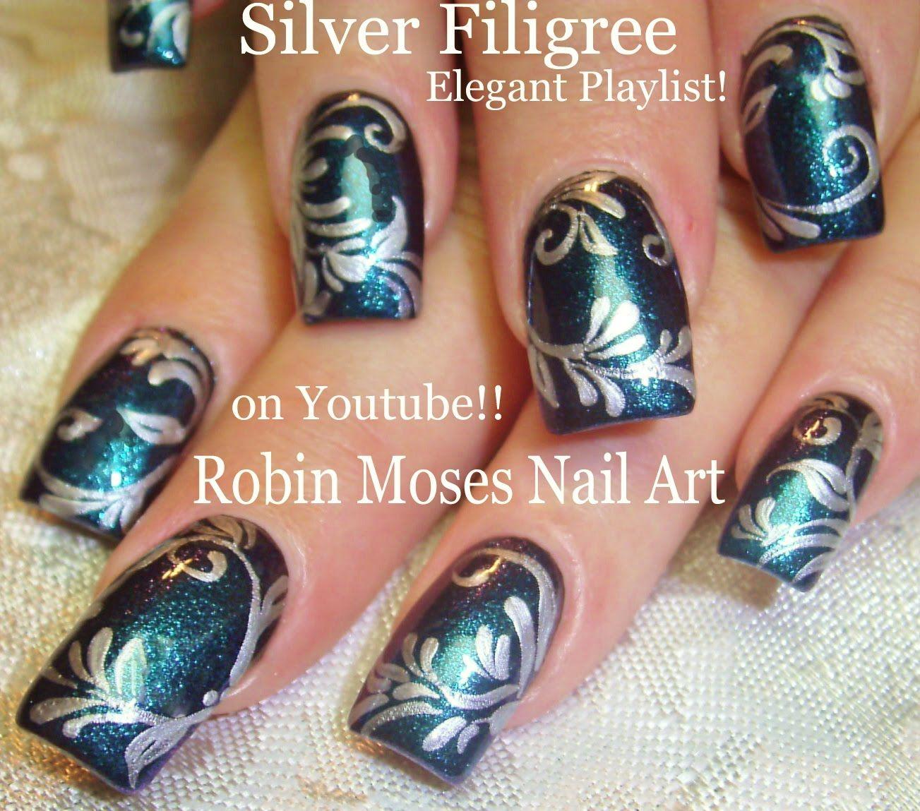 Nail Art Tutorial| DY Elegant filigree Nail Design | Dark blue and ...