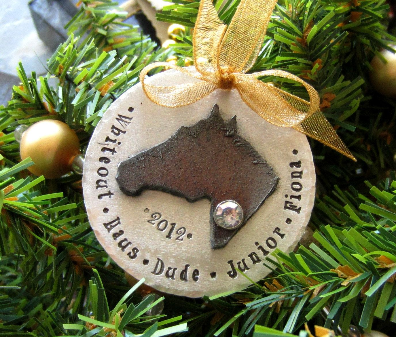Personalized Horse Ornament-Hand Stamped Ornament-Horse Lover ...