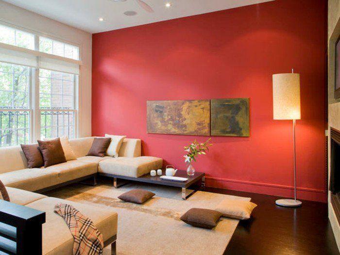 Charmant Idée Peinture Salon Interessante Mur D Accent Rouge