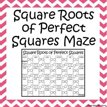 Square Roots Of Perfect Squares Maze Square Roots Maze And Students