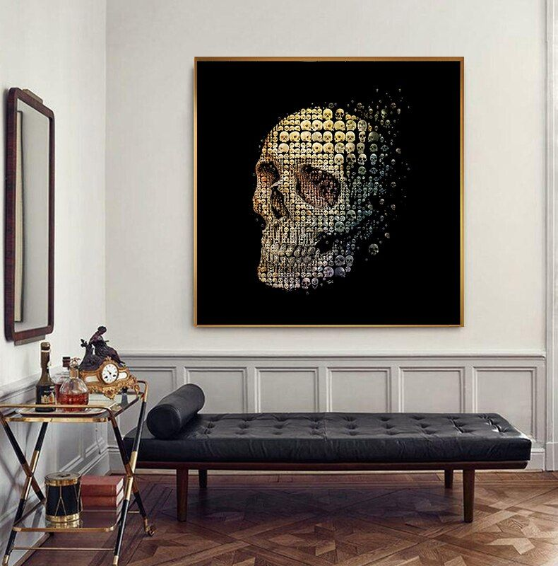 Selflessly Art Modern Decorative Painting Skull Black Background Prints And Posters For Living R In 2020 Wall Art Living Room Living Room Art Wall Art Canvas Painting #posters #for #living #room #walls