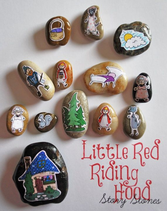 Painted rock story stones - Little red riding hood (stickers ...