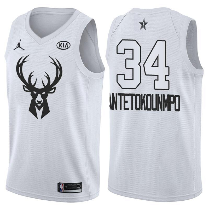 70d1e44b1 2018 All Star Game jersey  34 Giannis Antetokounmpo White jersey ...