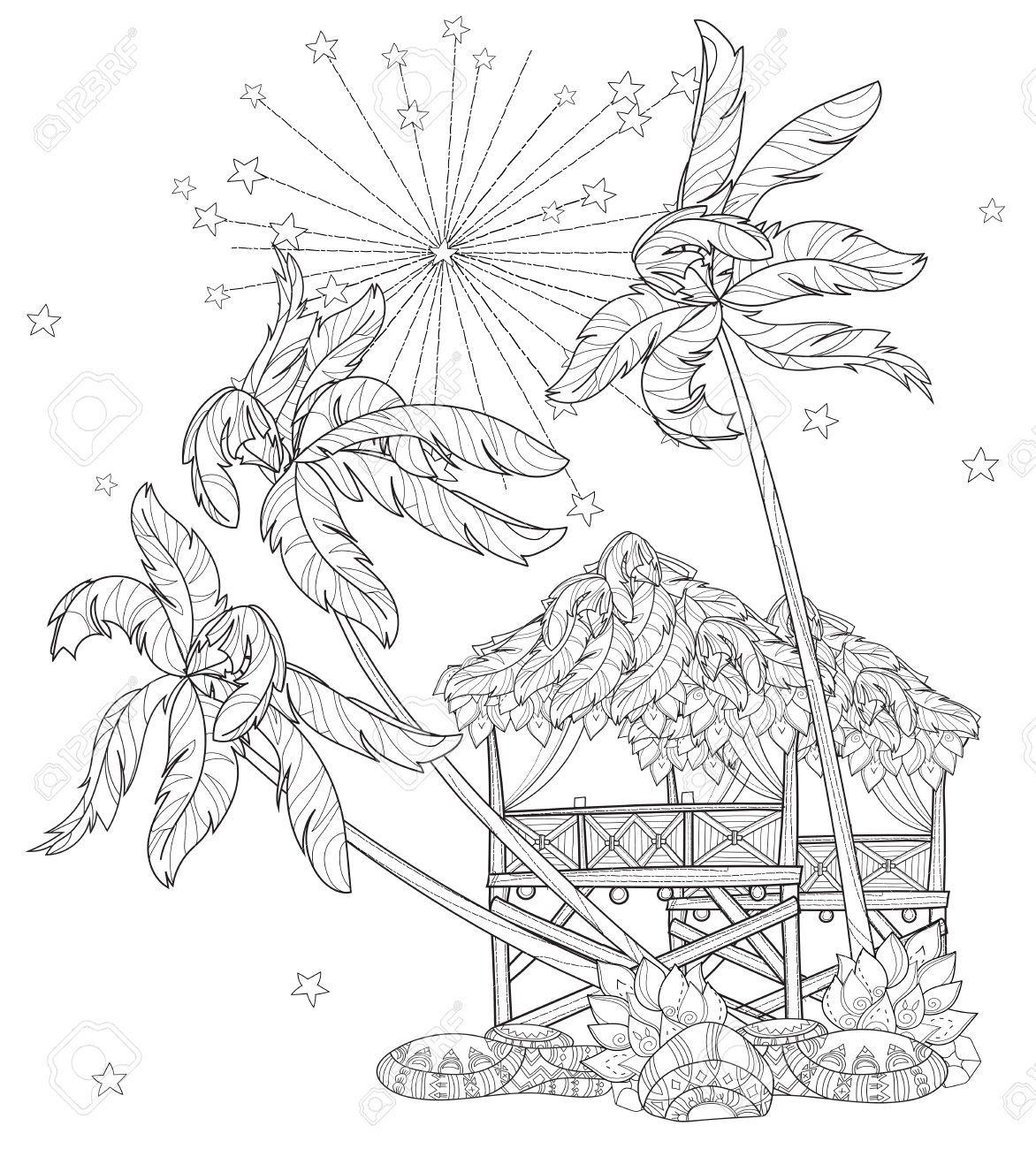 Mano Doodle Esquema En árbol De Palma, Ciudad De Dibujos Animados De ...
