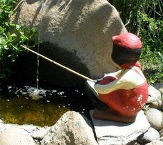 Vintage 40s 50s Black Americana Chalkware Boy Fishing Garden Statue Yard Art