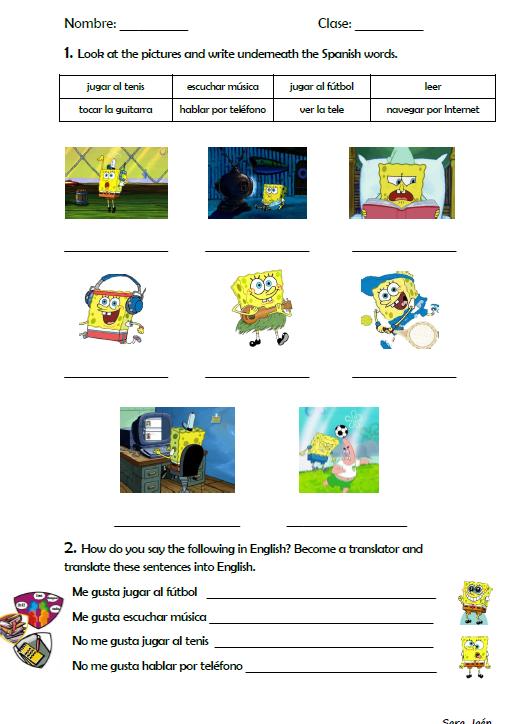 Recursos Para Profesores De Español Ks3 Recursos Para Profesores Actividades Bob Esponja