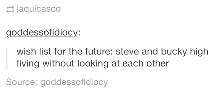 Steve and Bucky high fiving without looking at each other