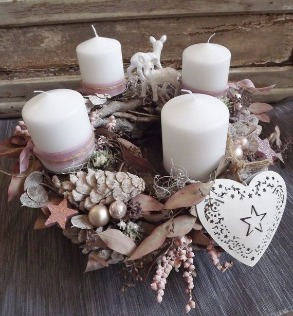 Photo of Advent wreath pink-white with deer and heart, wreath, shabby