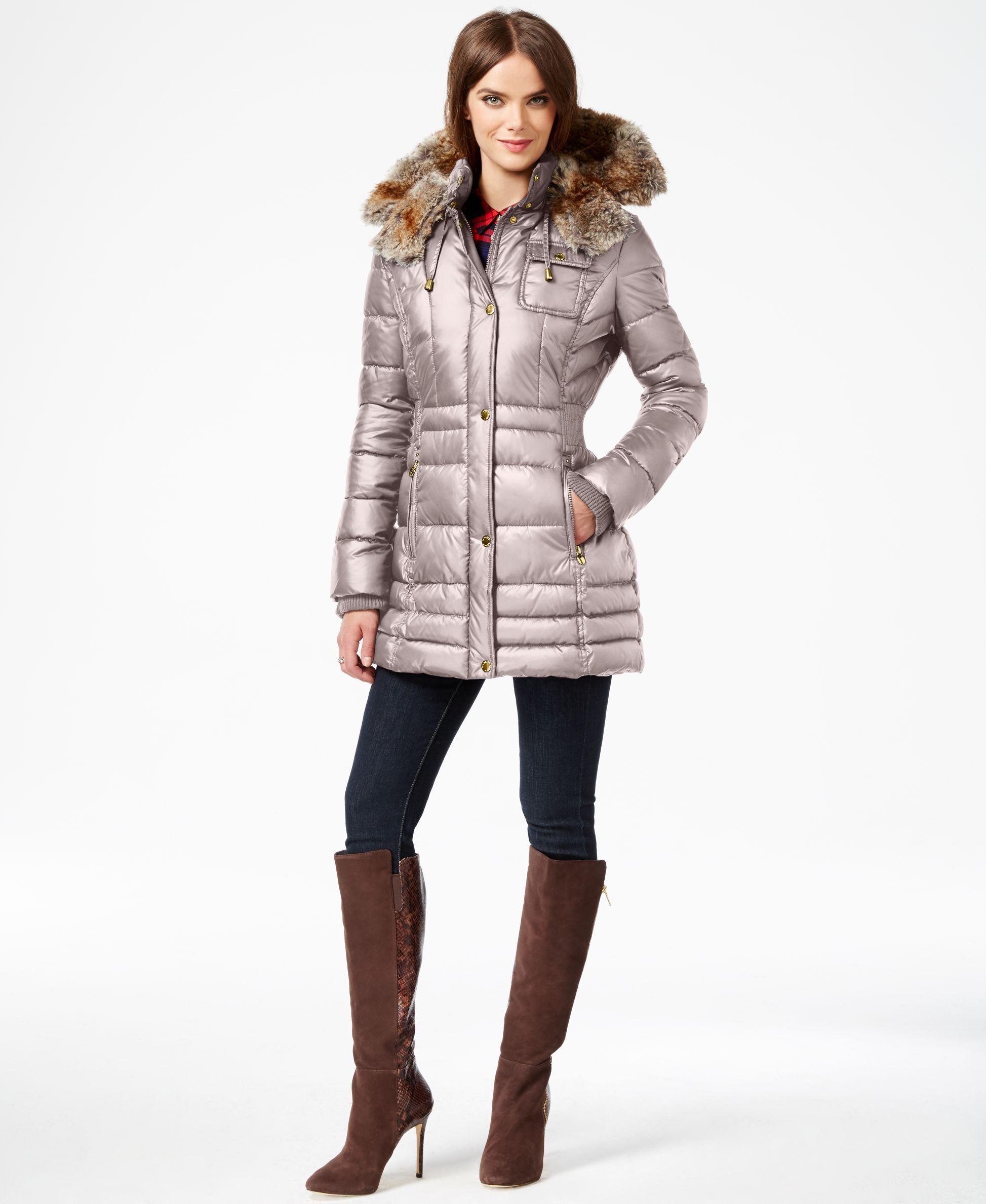 afc5f0401 Laundry by Design Plus Size Faux-Fur-Trim Plus Size Puffer Coat ...