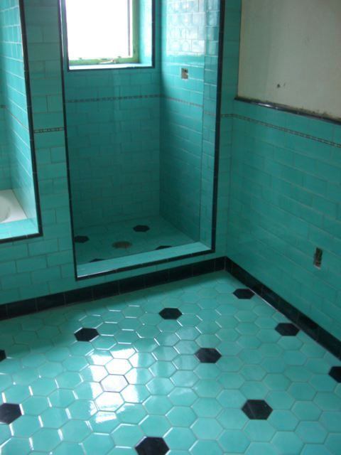 new tile revival series same colors of aqua and black apparently had some kind 1930s bathroomart
