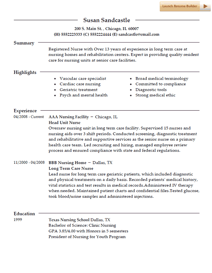 Nurse Resume Template Nurses Pinterest Sample Resume Resume