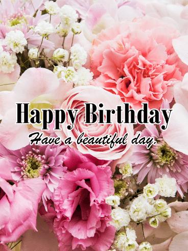 Alluring Flower Happy Birthday Card Birthday Greeting Cards By Davia Happy Birthday Celebration Happy Birthday Cards Happy Birthday Flower