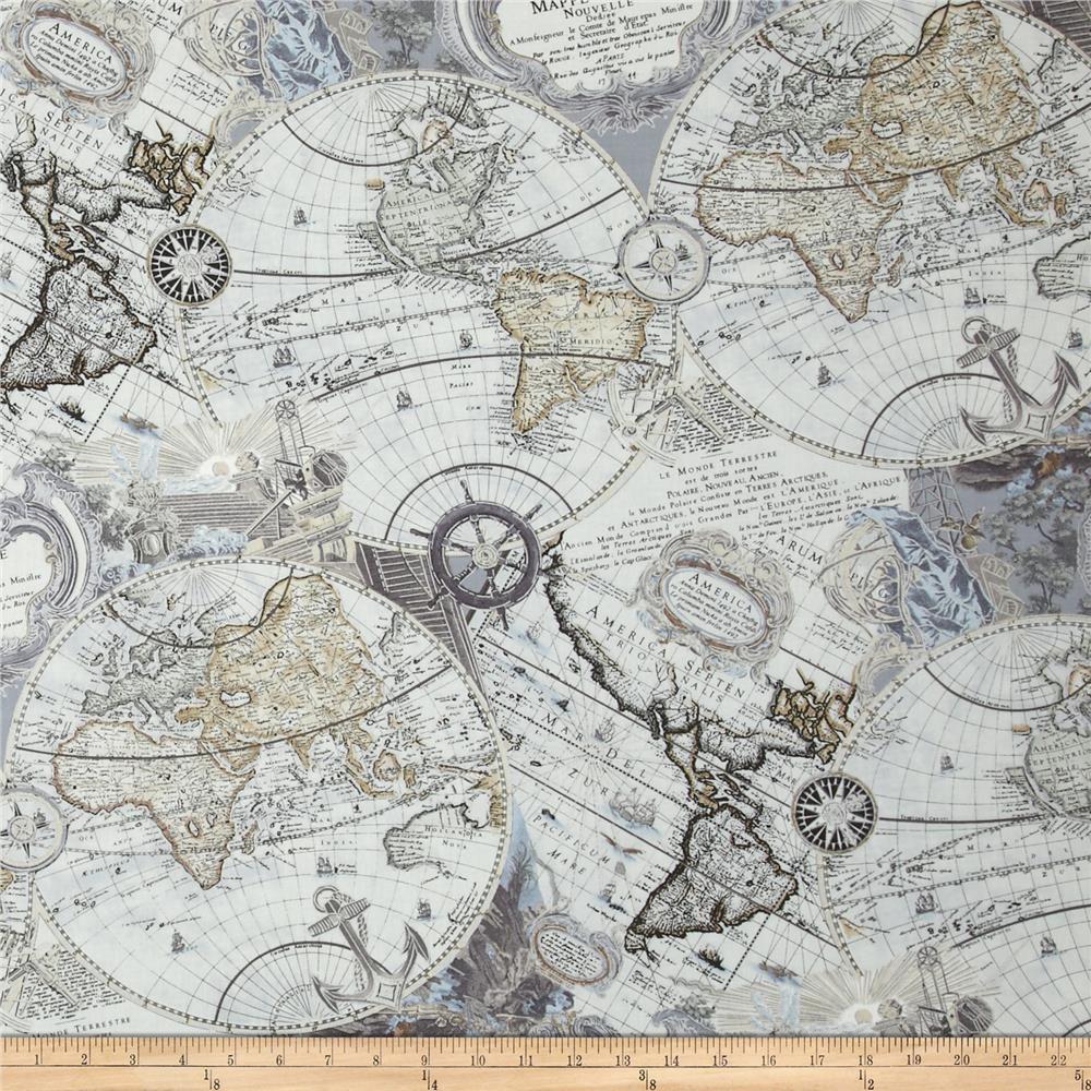 Kanvas renaissance man mapping skills gray from fabricdotcom kanvas renaissance man mapping skills gray cotton print fabric accent use gumiabroncs Images